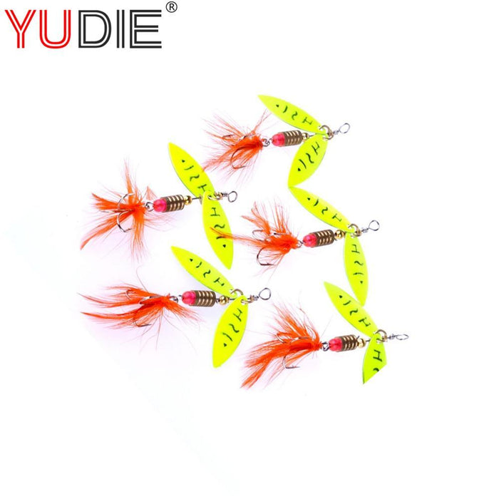 1Pcs 4Cm 4.5G Feather Spoon Fly Baits Slice Wing Hard Lures For Bait Hooks S-Inline Spinners-Bargain Bait Box-Bargain Bait Box