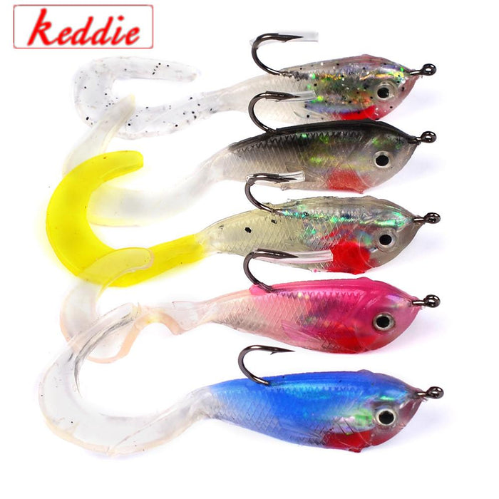 1Pcs 5.1Cm 6G Fishing Bait Fishing Silicone Bait 3D Eyes Lead 5Colors Jerkbait-Rigged Plastic Swimbaits-Bargain Bait Box-A-Bargain Bait Box