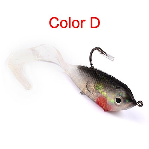 1Pcs 5.1Cm 6G Fishing Bait Fishing Silicone Bait 3D Eyes Lead 5Colors Jerkbait-Rigged Plastic Swimbaits-Bargain Bait Box-D-Bargain Bait Box