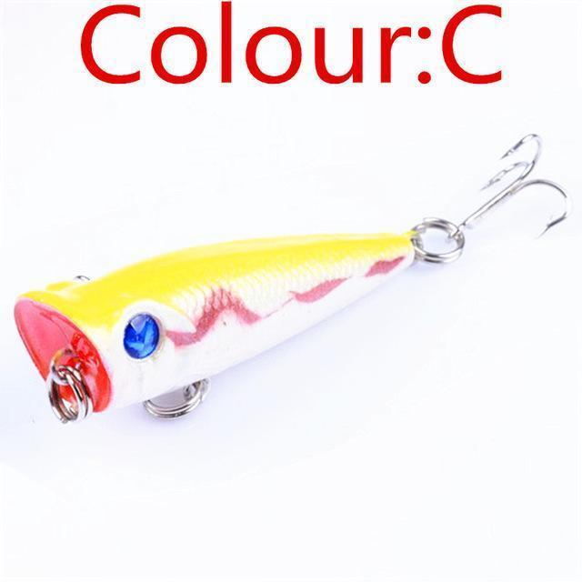 1Pcs 5Cm 4.5G Mini Crank Bait Popper Fishing Lures 3D Eyes Bait Wobblers Poper-WDAIREN fishing gear Store-C-Bargain Bait Box