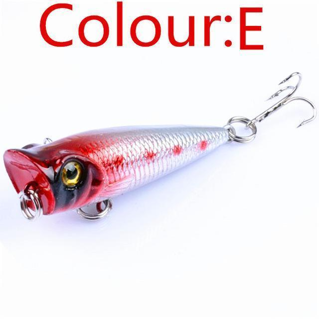 1Pcs 5Cm 4.5G Mini Crank Bait Popper Fishing Lures 3D Eyes Bait Wobblers Poper-WDAIREN fishing gear Store-E-Bargain Bait Box