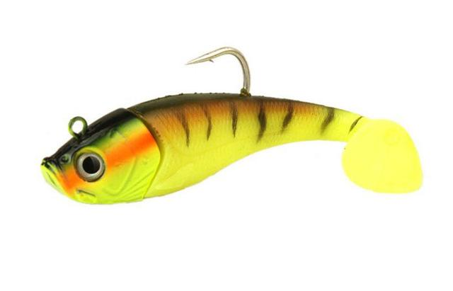 1Pcs Bait 20Cm 300G Lead Fish Single Hook T Tail Bait Long S Sea Fishing Tackle-Rigged Plastic Swimbaits-Bargain Bait Box-Yellow-Bargain Bait Box