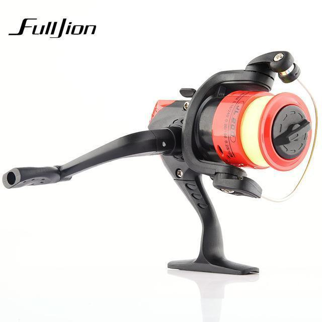 1Pcs Fishing Reels With Fishing Line Bait Casting Reel Aluminum Body Spinning-Ali Fishing Store-Plastic Red-With line-Bargain Bait Box