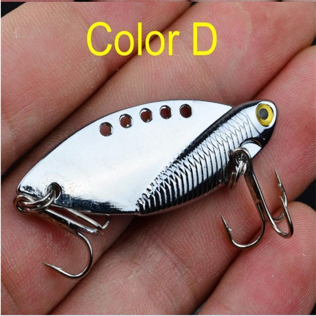 1Pcs Metal Vib Lures 5Cm 11G Vivid Vibrations Spoon Lure Fishing Bait Bass-FISHINAPOT Store-Burgundy-Bargain Bait Box