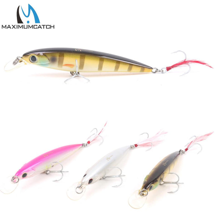 1Pcs Minnow Bass Minnow With Vmc Hooks And Feather-Lipless Baits-Bargain Bait Box-01-Bargain Bait Box