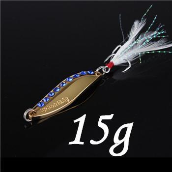 1Pcs Silver/Golden 7.5G 10.5G 15G 20G Alloy Fishing Spoon Lures Hard Bait-SHUNMIER Official Store-Black-Bargain Bait Box