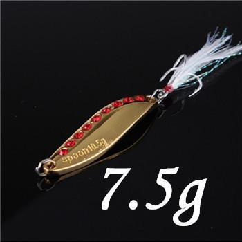 1Pcs Silver/Golden 7.5G 10.5G 15G 20G Alloy Fishing Spoon Lures Hard Bait-SHUNMIER Official Store-Burgundy-Bargain Bait Box