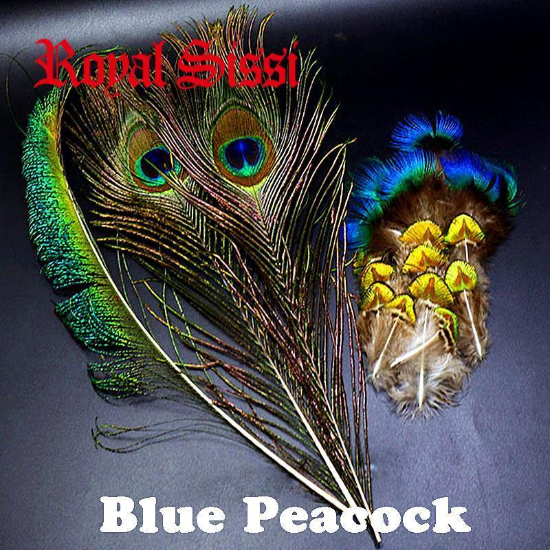 1Set Natural Blue Peacock Feathers Assorted Blue Peacock Tippets &Selected-Fly Tying Materials-Bargain Bait Box-Bargain Bait Box