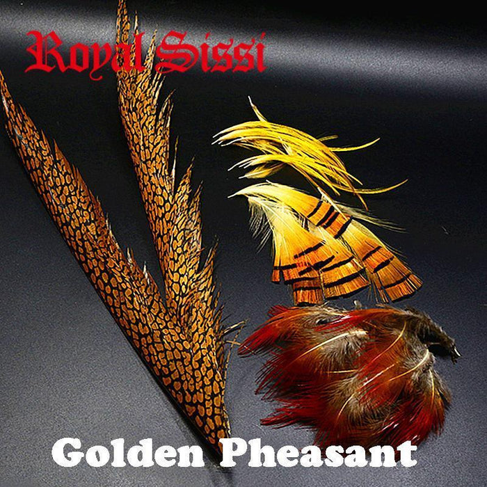 1Set Natural Golden Pheasant Feathers Mix Golden Pheasant Head Crest-Fly Tying Materials-Bargain Bait Box-Bargain Bait Box