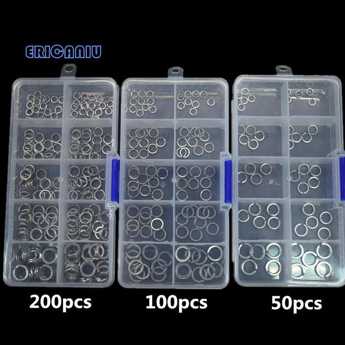 200.100.50Pcs Stainless Steel Fishing Split Rings Size Round Oval Hard Blank-Fishing Split Rings-Bargain Bait Box-50pcs-Bargain Bait Box