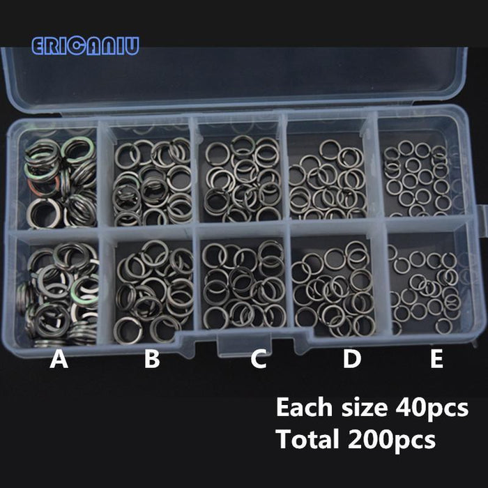 200Pcs Stainless Steel Fishing Split Rings Size Round Oval Hard Blank Lure-Fishing Split Rings-Bargain Bait Box-Bargain Bait Box