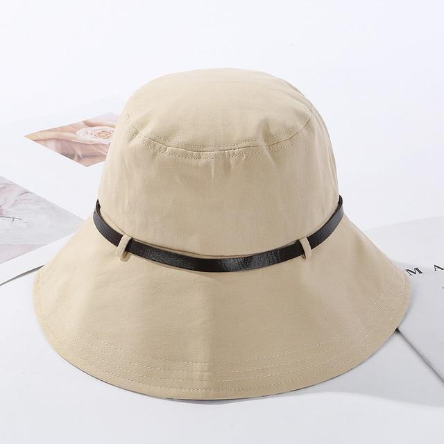 2020 Solid Color Belt Fashion Bucket Hats Women Outdoor Fishing Protection Cap-Women's Bucket Hats-High-end Accessory Store-beige-56-58cm-Bargain Bait Box