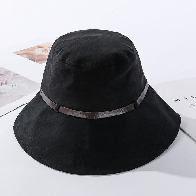 2020 Solid Color Belt Fashion Bucket Hats Women Outdoor Fishing Protection Cap-Women's Bucket Hats-High-end Accessory Store-Black-56-58cm-Bargain Bait Box