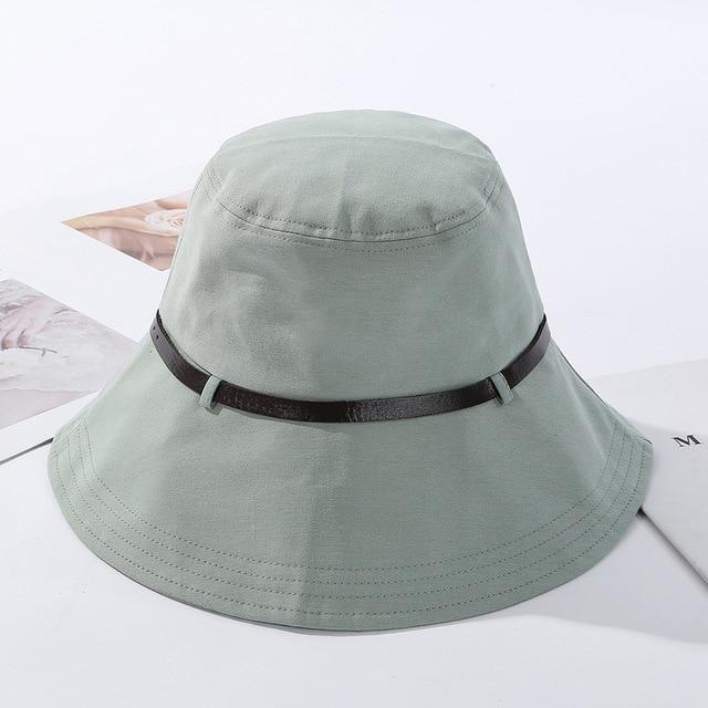 2020 Solid Color Belt Fashion Bucket Hats Women Outdoor Fishing Protection Cap-Women's Bucket Hats-High-end Accessory Store-Green-56-58cm-Bargain Bait Box