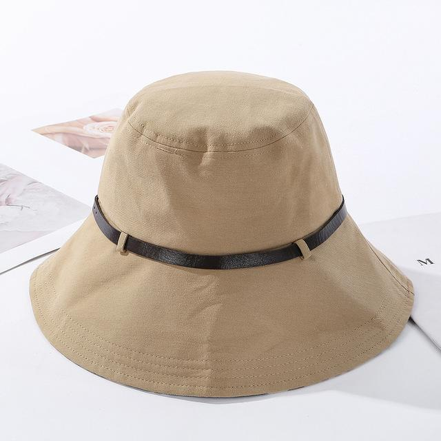 2020 Solid Color Belt Fashion Bucket Hats Women Outdoor Fishing Protection Cap-Women's Bucket Hats-High-end Accessory Store-khaki-56-58cm-Bargain Bait Box