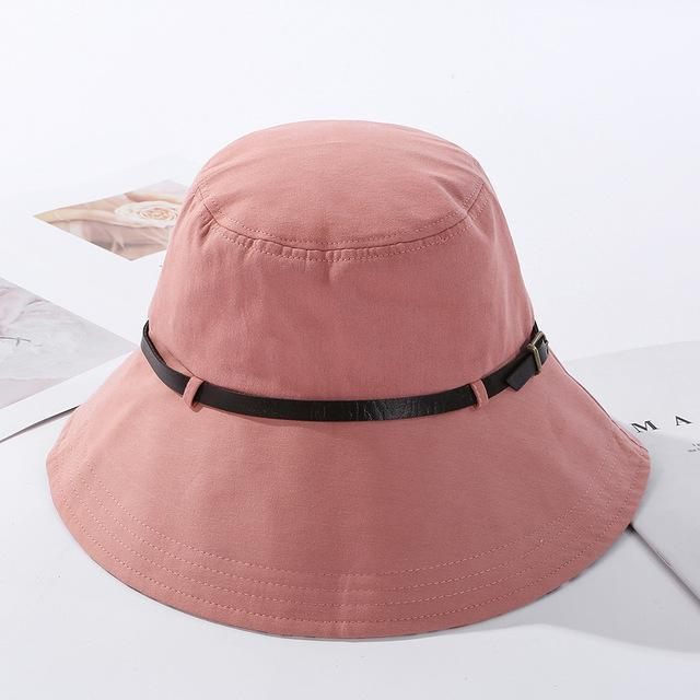 2020 Solid Color Belt Fashion Bucket Hats Women Outdoor Fishing Protection Cap-Women's Bucket Hats-High-end Accessory Store-pink-56-58cm-Bargain Bait Box