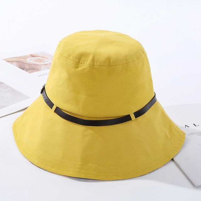 2020 Solid Color Belt Fashion Bucket Hats Women Outdoor Fishing Protection Cap-Women's Bucket Hats-High-end Accessory Store-Yellow-56-58cm-Bargain Bait Box
