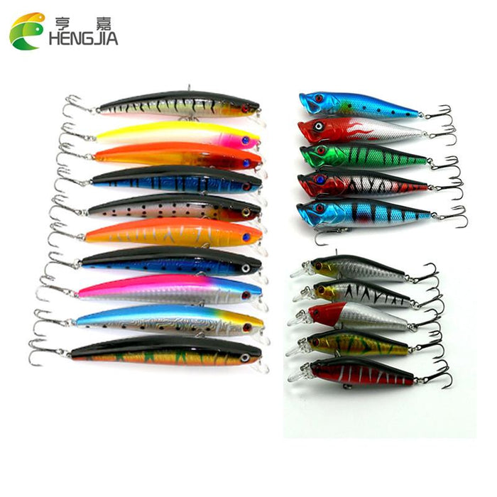 20Pcs 8.5G-11.2G Minnow/Popper Hard Baits S 3D Kit Fishing-Hard Bait Kits-Bargain Bait Box-Bargain Bait Box