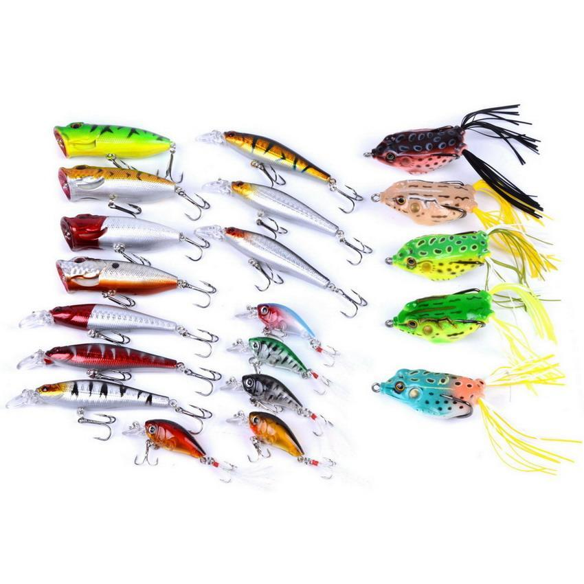 20Pcs Fishing Kit Minnow, Popper, Crank,Plastic Frog Bait For Saltwater-Hard Bait Kits-Bargain Bait Box-Bargain Bait Box