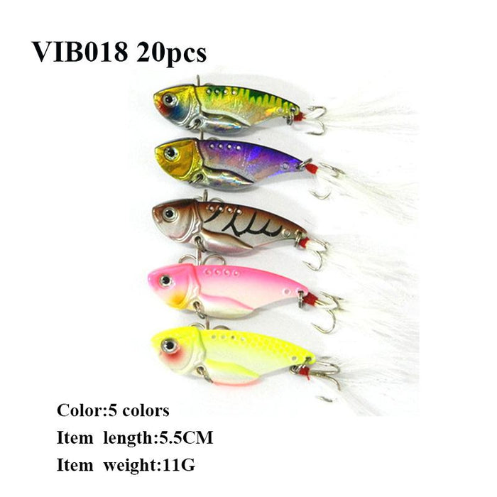 20Pcs Metal Vib Hard Bait 6 Models Bass Lure-Blade Baits-Bargain Bait Box-VIB009-Bargain Bait Box