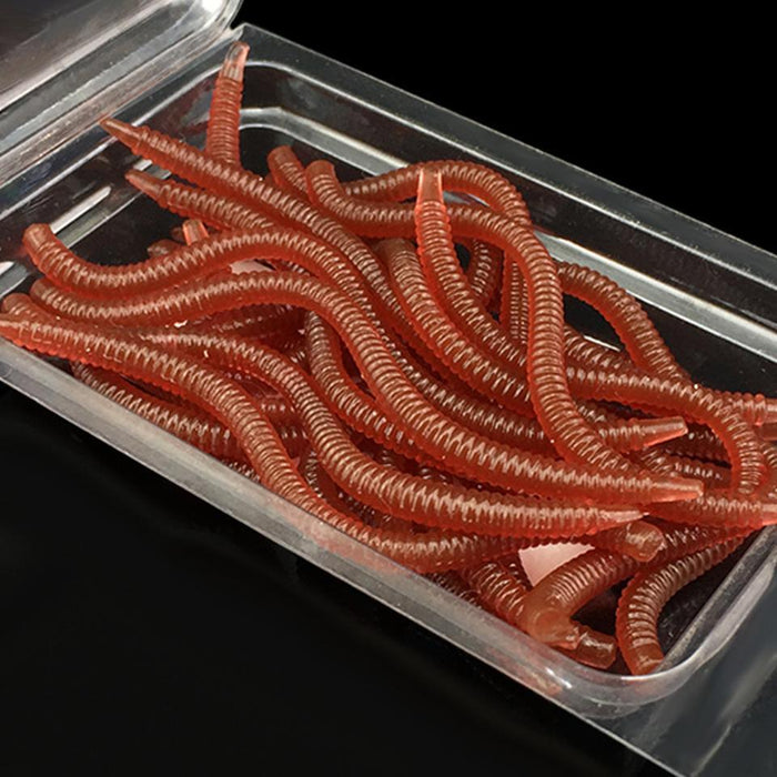20Pcs Simulation Earthworm Red Fishing Worms Artificial Fishing Worms Fishy-AOLIFE Sporting Store-8cm-Bargain Bait Box