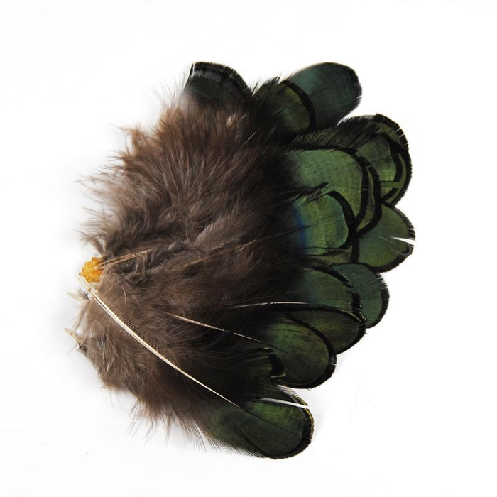20Pcs Small Dark Green Wild Pheasant Body Feather For Fly Tying Hackle Tail-Fly Tying Materials-Bargain Bait Box-Bargain Bait Box