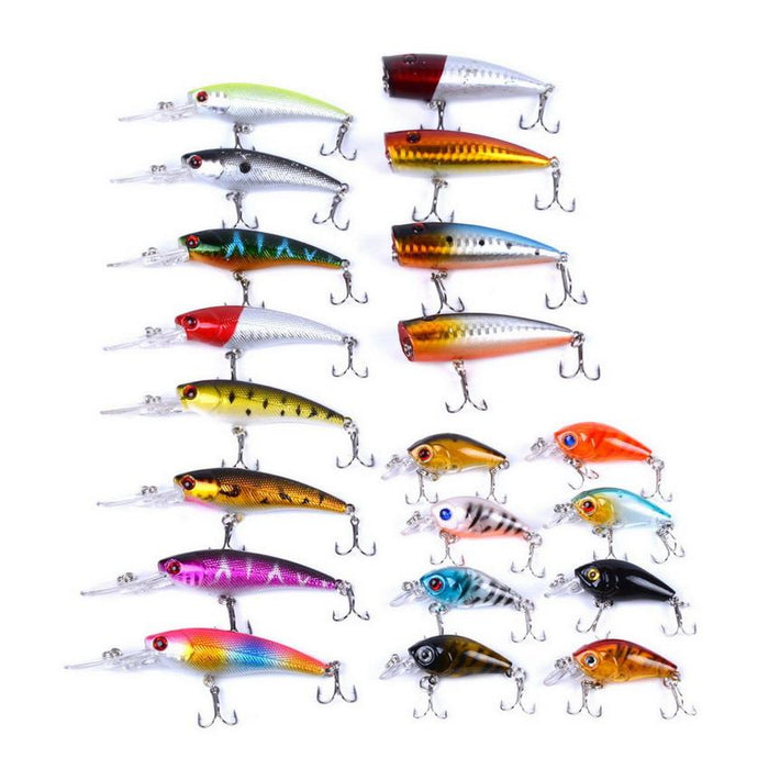 20Pcs/Set Minnow/Poppers/ Fishing Baits Kit /Style/Weight-Hard Bait Kits-Bargain Bait Box-Bargain Bait Box