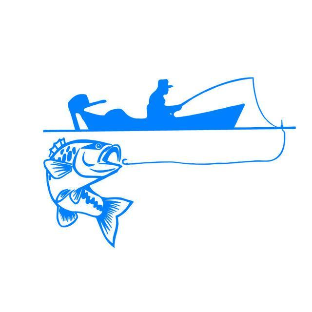 25.4*17.4Cm Recreational Sport Fishing Vinyl Decals Fish Animal Cartoon-Fishing Decals-Bargain Bait Box-Blue-Bargain Bait Box