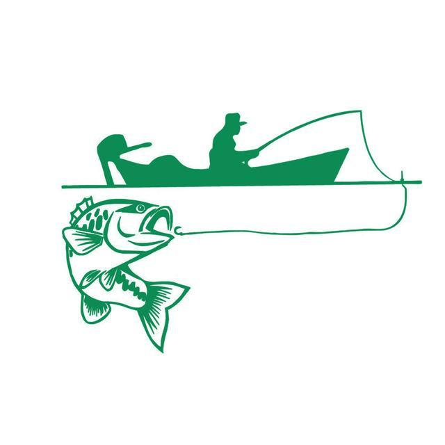 25.4*17.4Cm Recreational Sport Fishing Vinyl Decals Fish Animal Cartoon-Fishing Decals-Bargain Bait Box-Green-Bargain Bait Box