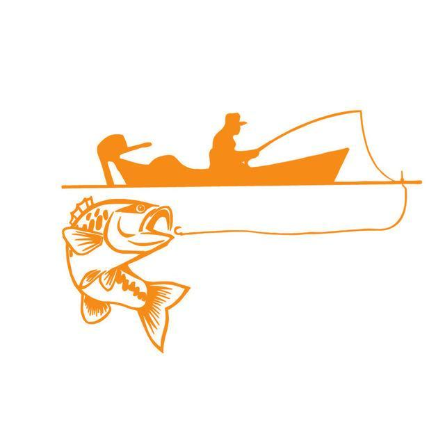 25.4*17.4Cm Recreational Sport Fishing Vinyl Decals Fish Animal Cartoon-Fishing Decals-Bargain Bait Box-Orange-Bargain Bait Box