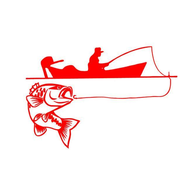 25.4*17.4Cm Recreational Sport Fishing Vinyl Decals Fish Animal Cartoon-Fishing Decals-Bargain Bait Box-Red-Bargain Bait Box