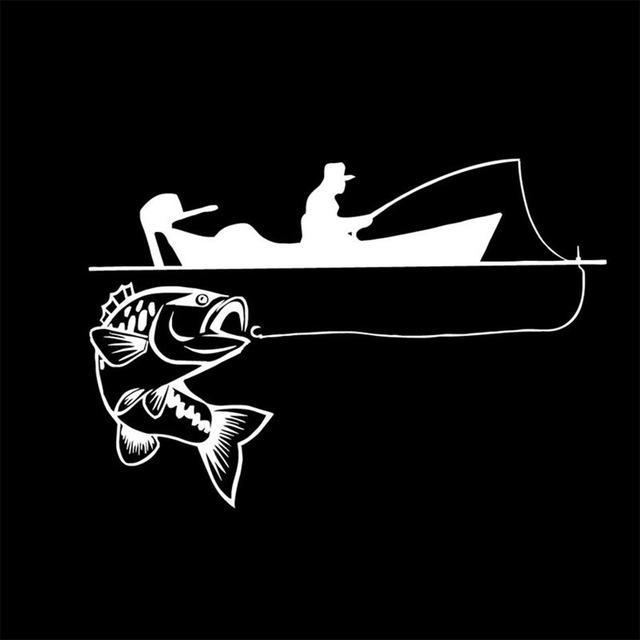 25.4*17.4Cm Recreational Sport Fishing Vinyl Decals Fish Animal Cartoon-Fishing Decals-Bargain Bait Box-White-Bargain Bait Box