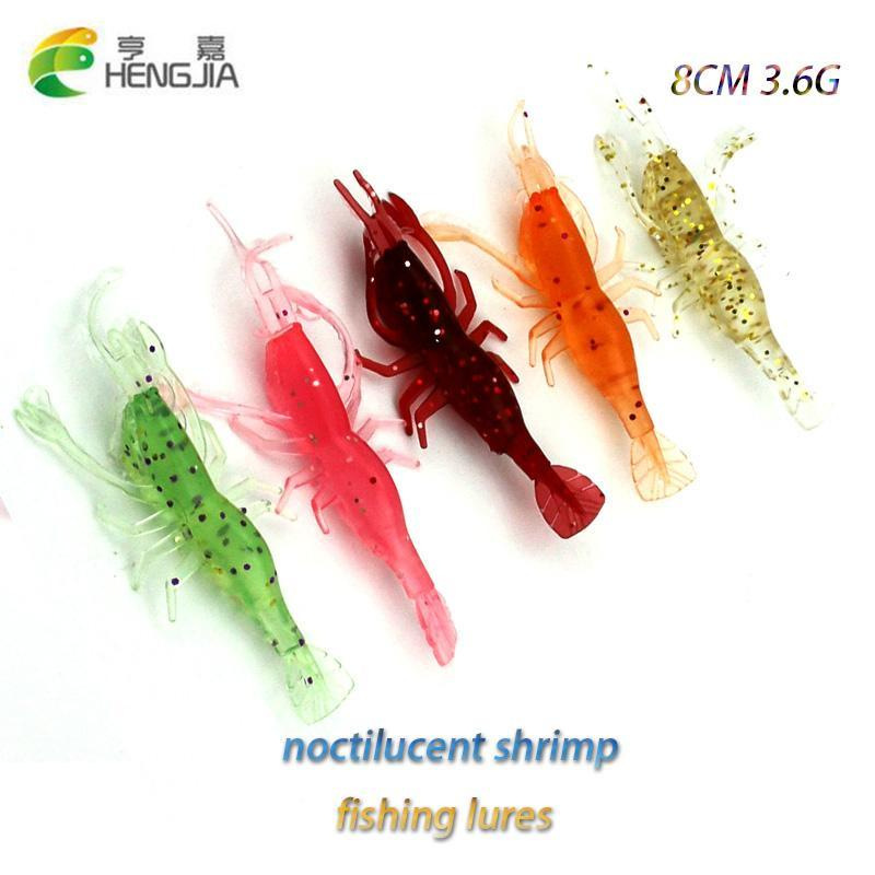 25Pcs 8Cm 3.6G Shrimp Soft Rubber Prawn Salmon Fishing Musky Fishing Baits-Craws-Bargain Bait Box-Bargain Bait Box