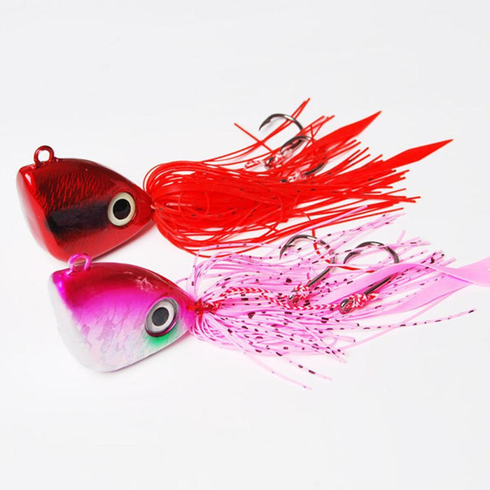 2Pcs Fishing Lead Head Swim Squid Bass Rubber Jig Jigging Spinner Bait Lure 150G-Bass Jigs-Bargain Bait Box-150g-Bargain Bait Box
