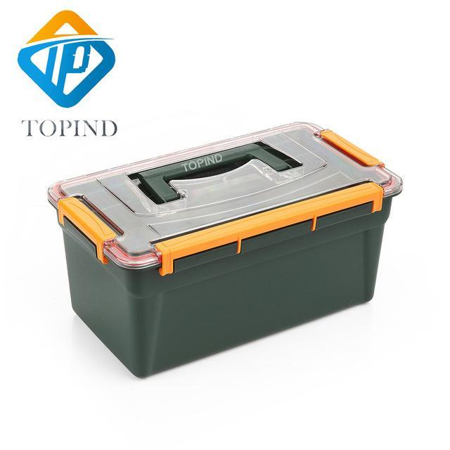 2Pcs Topind Dark Green Tackle Box 12.99X7.68X6.03 Inchutility Tool Storage Box-Tackle Boxes-Bargain Bait Box-Bargain Bait Box