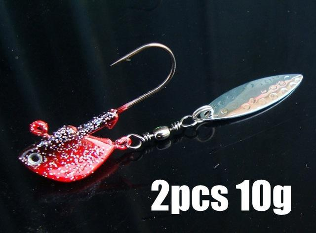 2Pcs/Lot 7G/10G Fishing Jig Head Hooks With Spinner Metal Spoon Fish Hook Soft-Panfish Jigs-Bargain Bait Box-2pcs 10g 2-Bargain Bait Box