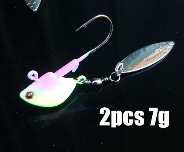 2Pcs/Lot 7G/10G Fishing Jig Head Hooks With Spinner Metal Spoon Fish Hook Soft-Panfish Jigs-Bargain Bait Box-2pcs 7g 2-Bargain Bait Box