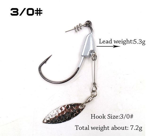 2Pcs/Package Barbed Fishhook Crank Hook 3/0# 4/0# 5/0# With Lead Single Hook-MC&LURE Store-3-Bargain Bait Box