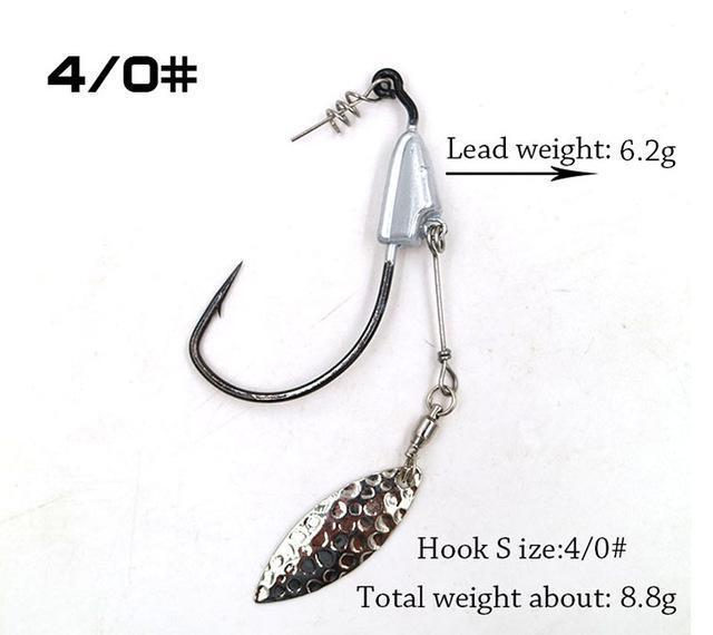 2Pcs/Package Barbed Fishhook Crank Hook 3/0# 4/0# 5/0# With Lead Single Hook-MC&LURE Store-4-Bargain Bait Box