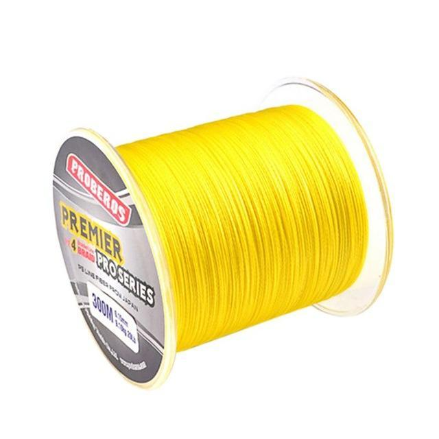 300M Pe Multifilament Braided Fishing Line 5 Colors Super Strong Fishing Line-Yue Che Store-Yellow-1.0-Bargain Bait Box