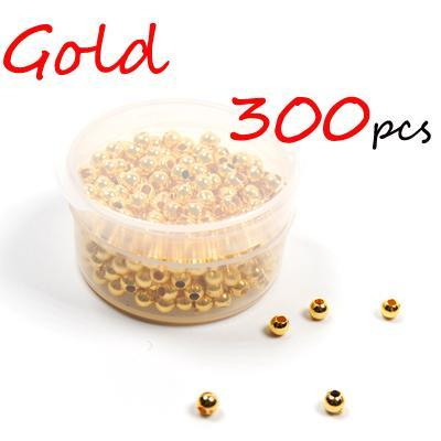 300Pcs 3Mm Hollow Plastic Beads For Fly Tying Nymph Scud Belly Eyes / Spinner-Fishing Beads-Bargain Bait Box-300pcs Gold-Bargain Bait Box
