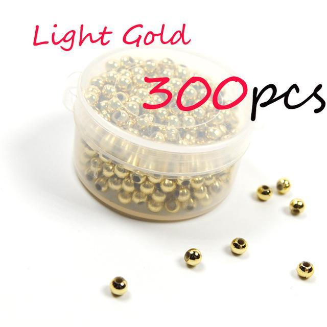 300Pcs 3Mm Hollow Plastic Beads For Fly Tying Nymph Scud Belly Eyes / Spinner-Fishing Beads-Bargain Bait Box-300pcs Light gold-Bargain Bait Box