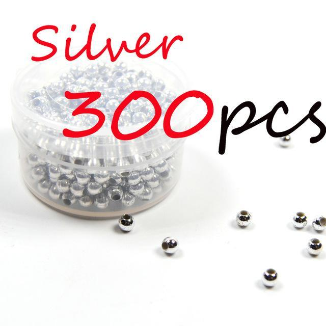 300Pcs 3Mm Hollow Plastic Beads For Fly Tying Nymph Scud Belly Eyes / Spinner-Fishing Beads-Bargain Bait Box-300pcs Silver-Bargain Bait Box