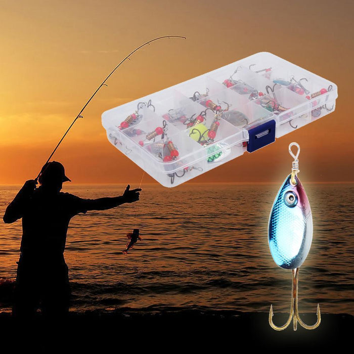 30Pcs Artificial Trout Spoon Fishing Lures Spinner Baits Box Bass Tackles Set-Bluenight Outdoors Store-Bargain Bait Box