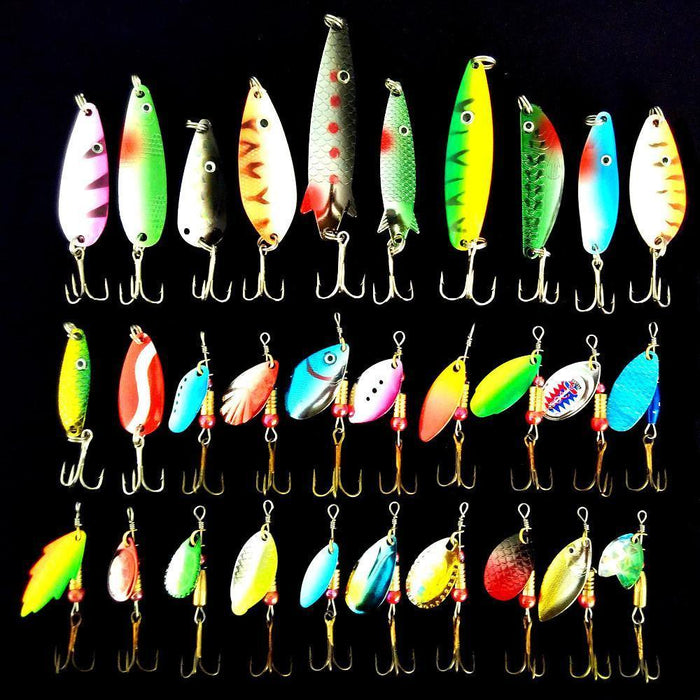 30Pcs/Lot 3-10G Fishing Lure Mixed Color/Size/Weight/ Hook/Diving Depth Metal-allblue Official Store-Bargain Bait Box