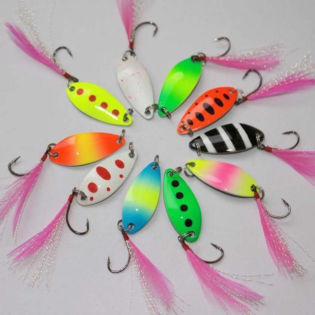 3.2Cm 2.5G Colorful Trout Lure Fishing Spoon Bait 10Pcs/Lot Single Hook Metal-E-F fishing tackle-feather hook-Bargain Bait Box
