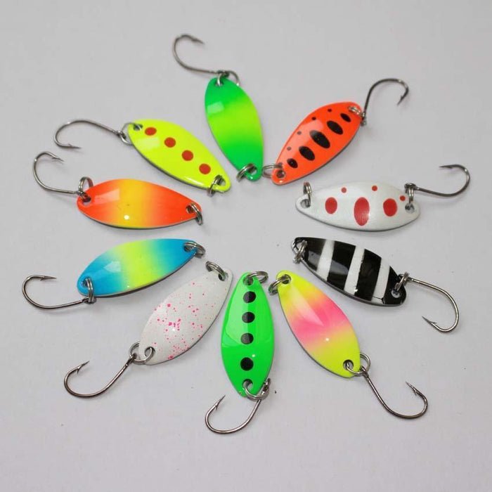 3.2Cm 2.5G Colorful Trout Lure Fishing Spoon Bait 10Pcs/Lot Single Hook Metal-E-F fishing tackle-single hook-Bargain Bait Box