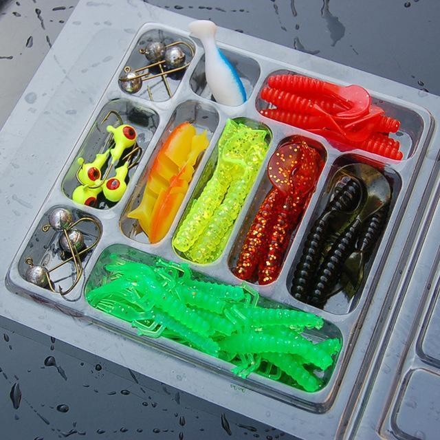 35Pcs/Box Mixed Fishing Lure Hook Set Kit Soft Artificial Worm Shrimp Minnow-walkinhorizon Store-Bargain Bait Box