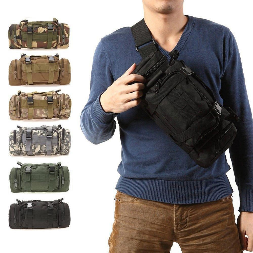 3L/6L Military Tactical Waist Pack Waterproof Oxford Molle Camping Pouch-Bags-Bargain Bait Box-Black 3L-Bargain Bait Box