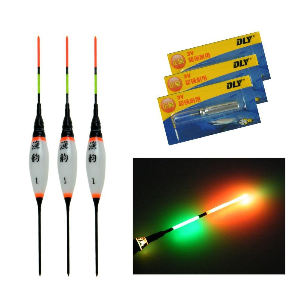 3Pcs Electronic Led Fishing Floats Bobbers Buoy Lake River Fishing With-Glow Floats-Bargain Bait Box-3Pcs Size 1-Bargain Bait Box